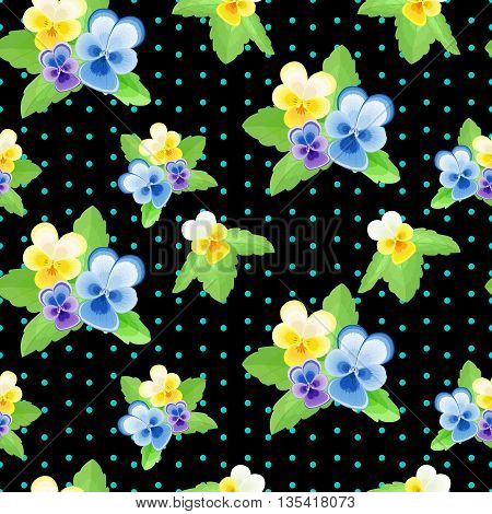 Pansies on black background with dots.Cute floral seamless pattern with flowers of different colors.Summer vector illustration.Can be used for fabric, textile, wrapping paper.