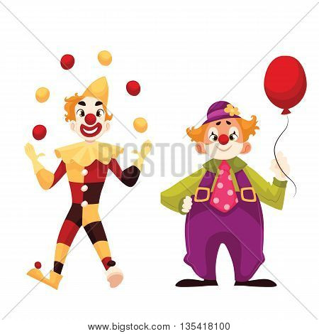 Two cheerful clown on a holiday, cartoon comic illustration isolated on a white background,