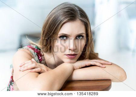 upset woman on white background