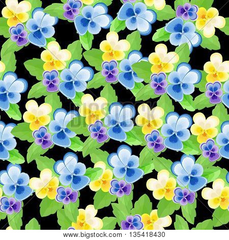 Dense seamless pattern with pansies on a black background.Floral vector illustration.Background with flowers.Can be used for fabric, textile, wrapping paper.