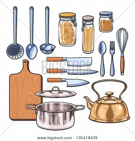 Kitchenware, sketch drawn by hand, items in the kitchen kettle ladle knife fork dish pan rifled board of the bank with pasta, Kitchenware in a color sketch style, a wide range of subjects