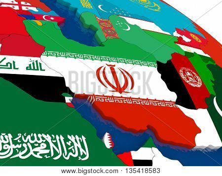 Iran On 3D Map With Flags