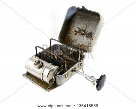 Vintage portable burner - primus isolated on white background