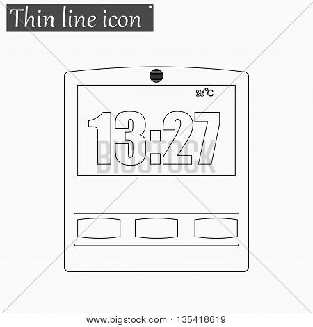 Simple illustration of clock with hour icon Vector Style Black thin line