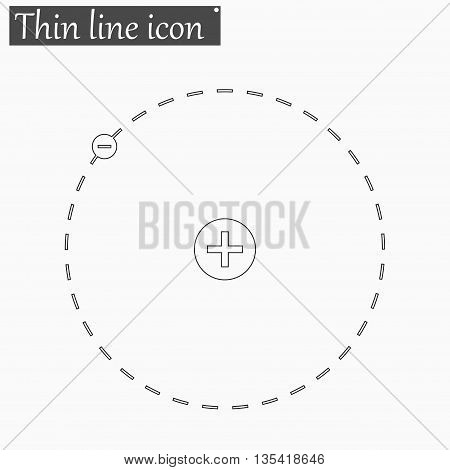 Atom with nucleus and electron icon Vector Style Black thin line
