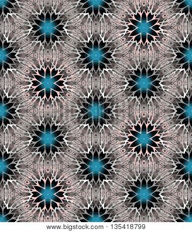Seamless pattern of beautiful kaleidoscope. Ornamental background. Vector illustration.