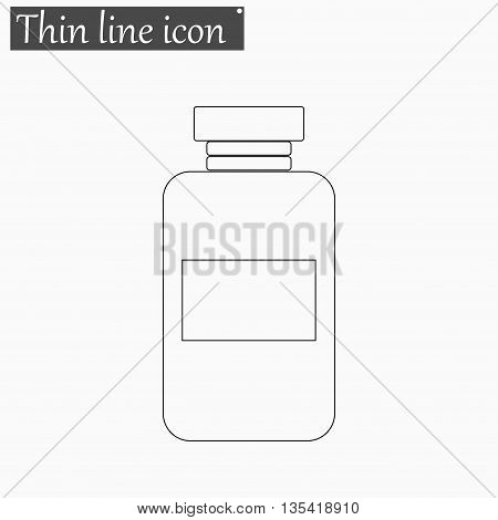 image of a vaccine vial icon Vector Style Black thin line
