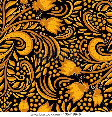 Khokhloma decorated gold seamless texture on black background