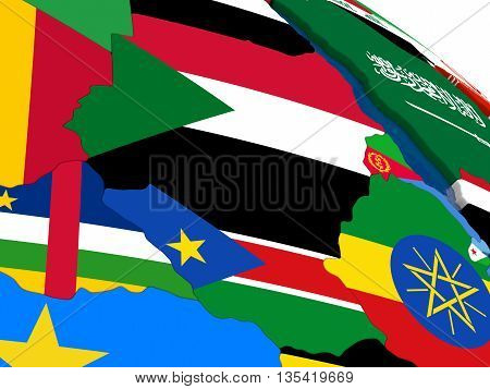 Sudan And South Sudan On 3D Map With Flags