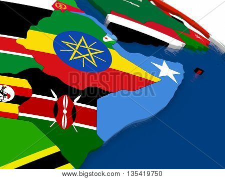 Somalia And Ethiopia On 3D Map With Flags