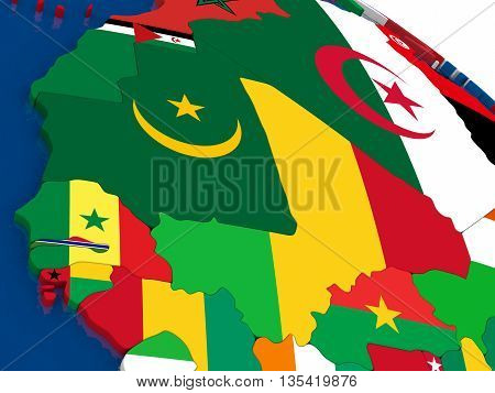 Mali And Senegal On 3D Map With Flags