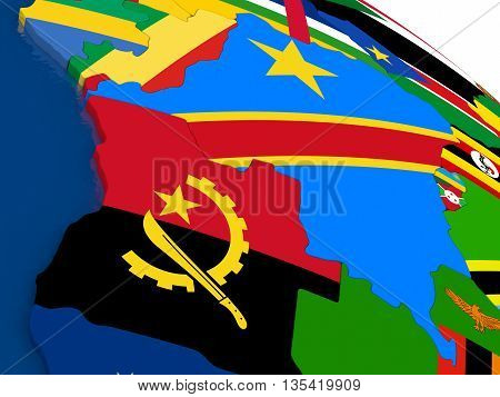 Democratic Republic Of Congo On 3D Map With Flags