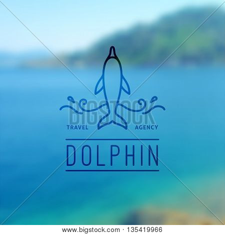 logo of dolphin and waves, vector template for travel agency