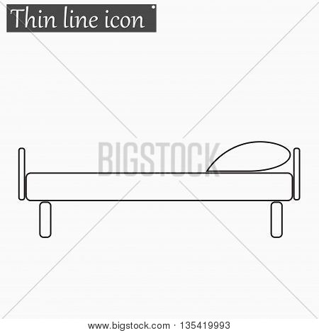 The bed icon Vector Style Black thin line