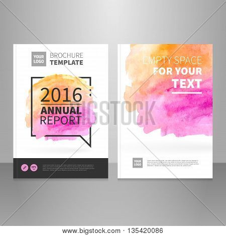 Annual report brochure or book vector design template. Watercolor background. editable. Brochure front and back template.