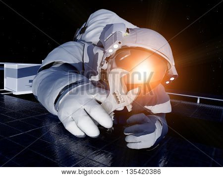 Astronaut in space with a key.3d render
