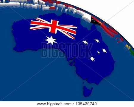 Australia On 3D Map With Flags