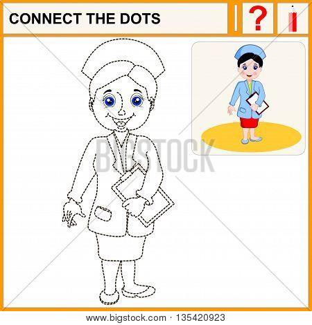 Connect the dots. Cartoon vector Illustration.Woman pharmacist in a pharmacy on the isolated background. Health care. Isolated.Black.