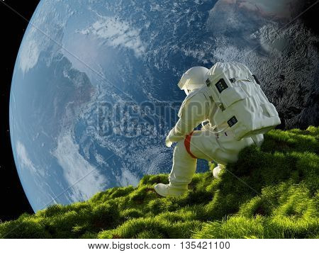 Astronaut on the grass against the sky