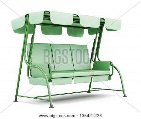 Metal swing for the garden isolated on a white background. 3d rendering.