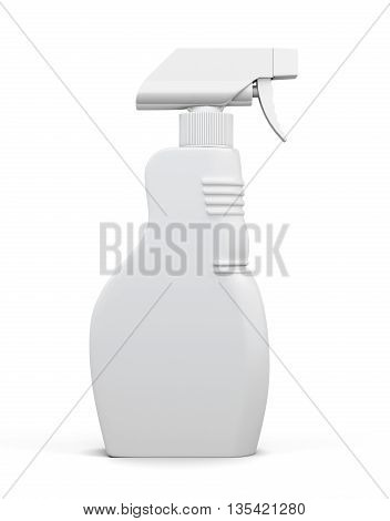 Empty bottle of detergent spray isolated on white background. Household chemicals. Cleaning product. Front view. For your design. 3d rendering