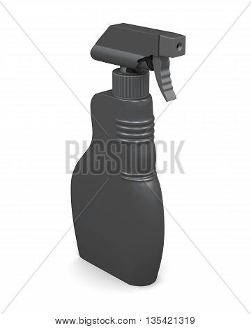Plastic spray bottle isolated on white background. Household chemicals. Cleaning product. For your design. 3d render image