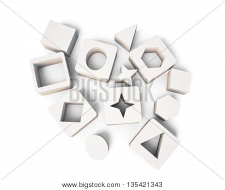 White cubes with geometric shapes isolated on white background. Educational blocks. Top view. Children's educational toys.  3d render image