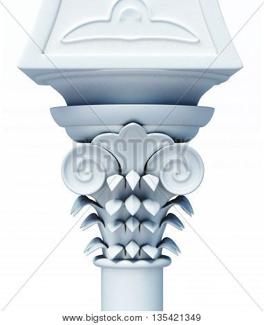 Capital of the column close up isolated on white background. 3d rendering.