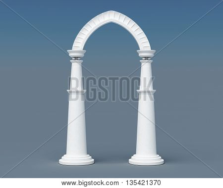 Arch and columns on a blue background. 3d rendering.