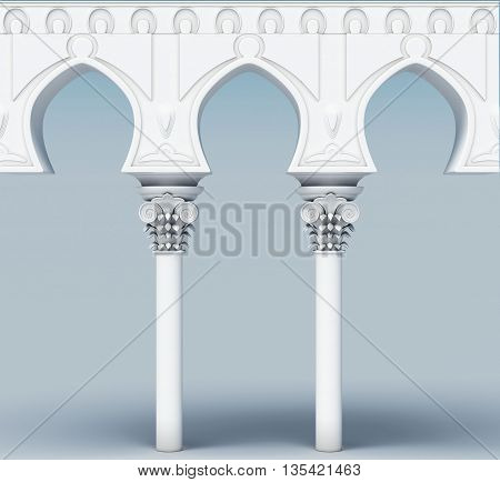 Image of the architectural element. Arch aqueduct. 3d rendering.
