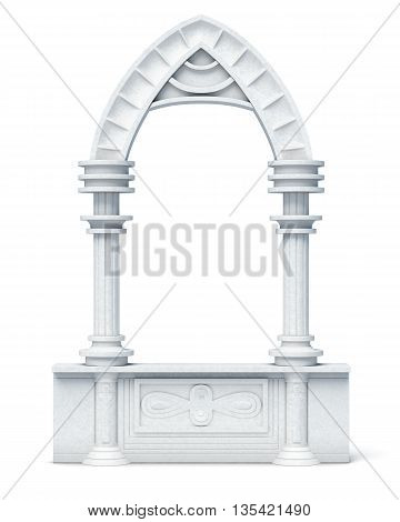 Architectural objects columns arch parapet balustrade on white background. 3d render image.