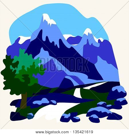 Vector snow mountains peak logo alpine landscape outline illustration