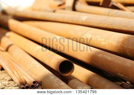 Copper industrial tubes, closeup