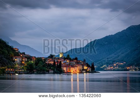 Lago di Como (Lake Como) Rezzonico at blue hour