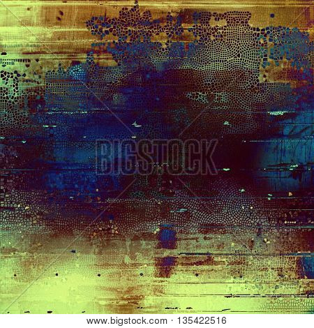 Grunge background with vintage style graphic elements, retro feeling composition and different color patterns: yellow (beige); brown; blue; purple (violet); cyan