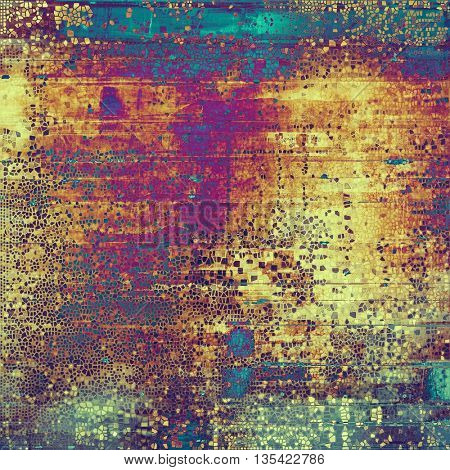Grunge texture or background with retro design elements and different color patterns: yellow (beige); brown; blue; red (orange); purple (violet); pink