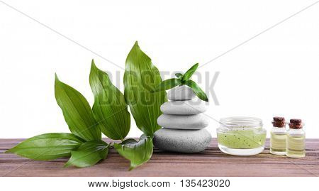 Spa composition with white stones on light background
