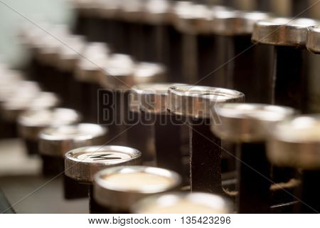 Buttons Of The Typewriter Close Up