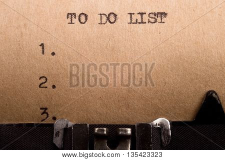 To Do List Typed On The Typewriter