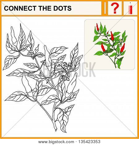 Connect the dots. Pepper. Flat Design Style. Vector illustration. Cartoon vector Illustration.
