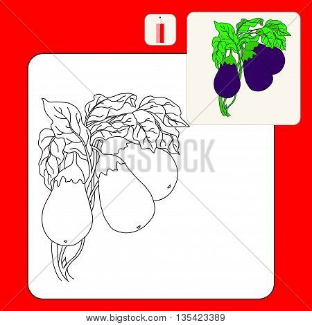 Coloring Book. Coloring book pages with cartoon vector illustration. Eggplant Isolated on White. Flat Design Style.