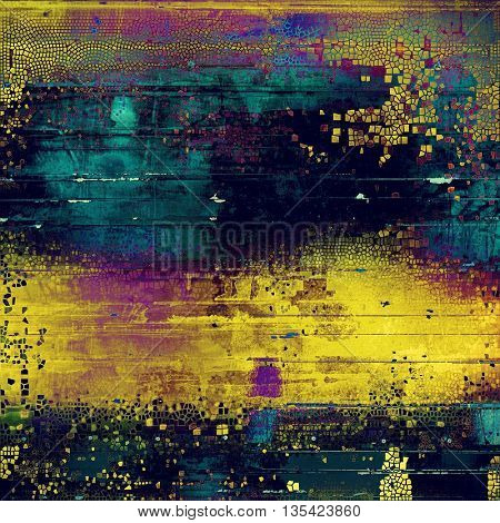 Aged grunge graphic background with shabby texture in vintage style and different color patterns: yellow (beige); blue; purple (violet); cyan; pink
