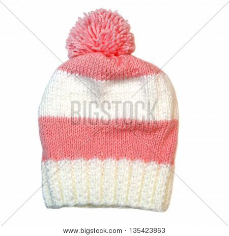 Pink Wool Knitted Winter Hat. On A White Background