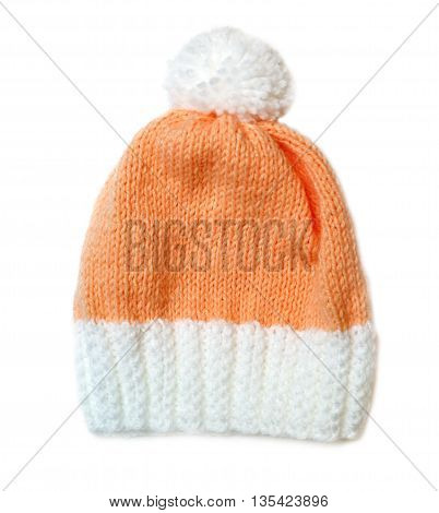 Orange Wool Knitted Winter Hat. On A White Background