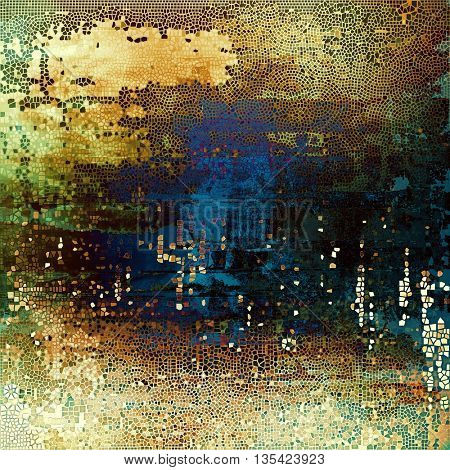 Vintage aged texture, old scratched background. With different color patterns: yellow (beige); brown; green; blue; black; cyan
