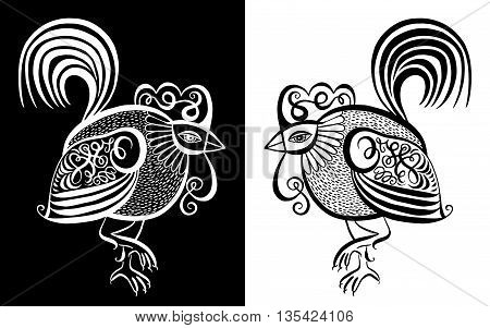 original black and white line art rooster calligraphy drawing, symbol of 2017 new year, vector illustration