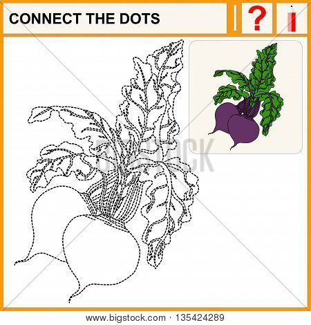 Connect the dots. Beetroot. Flat Design Style. Vector illustration. Cartoon vector Illustration.