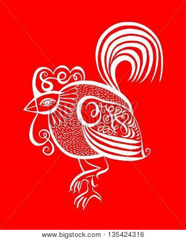 original red line art rooster calligraphy drawing, symbol of 2017 new year, vector illustration