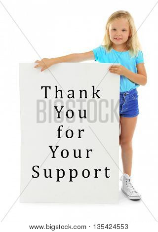 Little girl and board with text Thank You for Your Support isolated on white