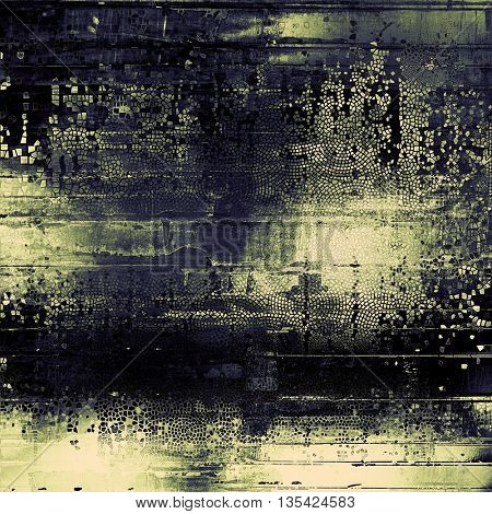 Grunge texture in ancient style, aged background with creative decor and different color patterns: yellow (beige); green; blue; gray; black
